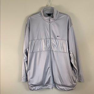 Nike men's jacket zip up- color silver- size XL